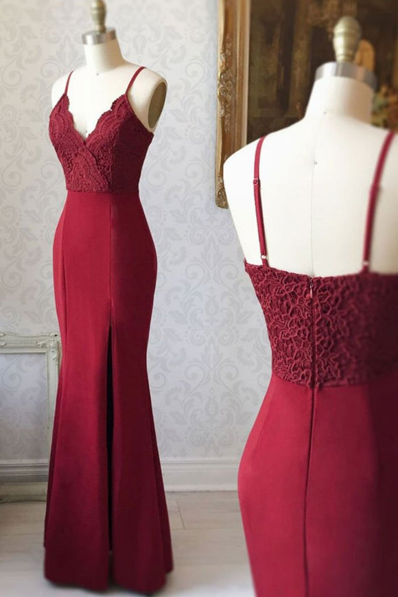 red party dress spaghetti straps evening dress mermaid long prom dress lace formal dress backless prom dress