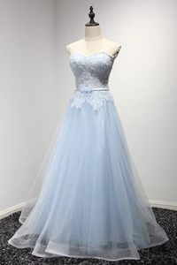 sky blue party dress strapless evening dress lace applique prom dress tulle long formal dress