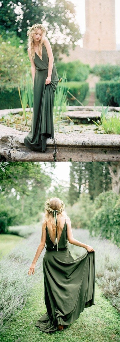 Bohemian party dress Olive Green prom dress Chiffon Country Bridesmaid Dress, Sexy Spaghetti Straps Backless Long Prom Gowns