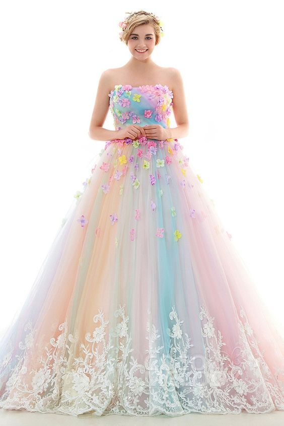 Rainbow-colored evening dress strapless party dress tulle long prom dress lace applique formal dress