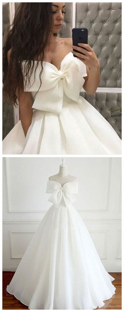 Cute White Big Bowknot Prom Dress,Strapless Evening Dress,Satin simple a-line  white Party Dress