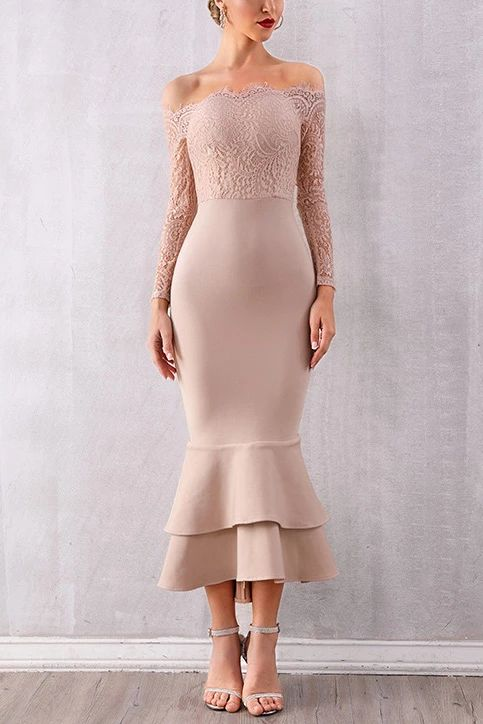 flesh pink party dress  long sleeve evening dress off shoulder prom dress lace mermaid formal dress
