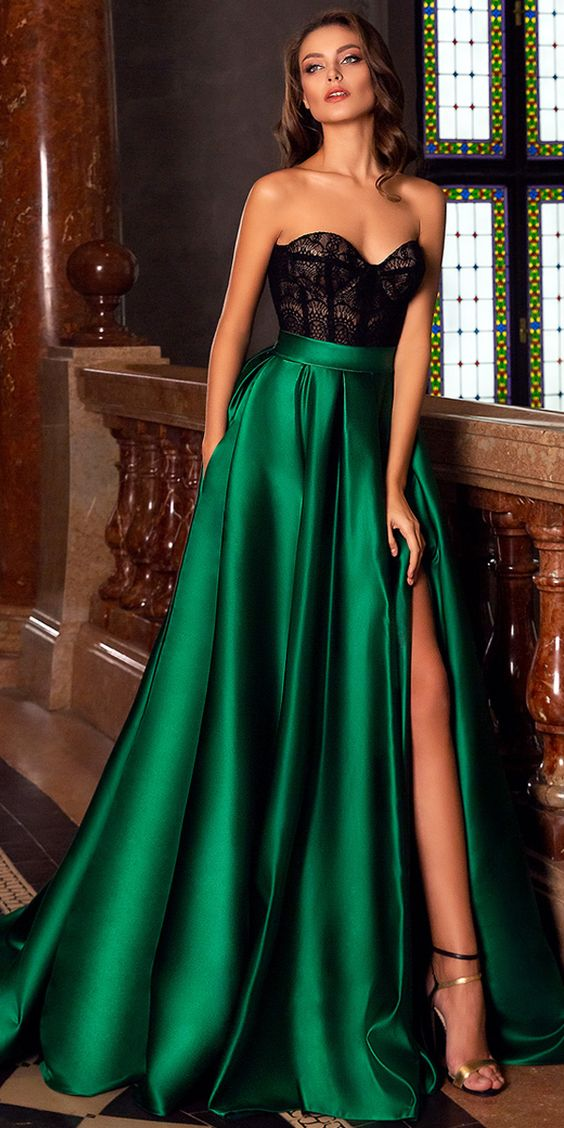 Green Party Dress Strapless Evening Dress Lace Long Prom Dress