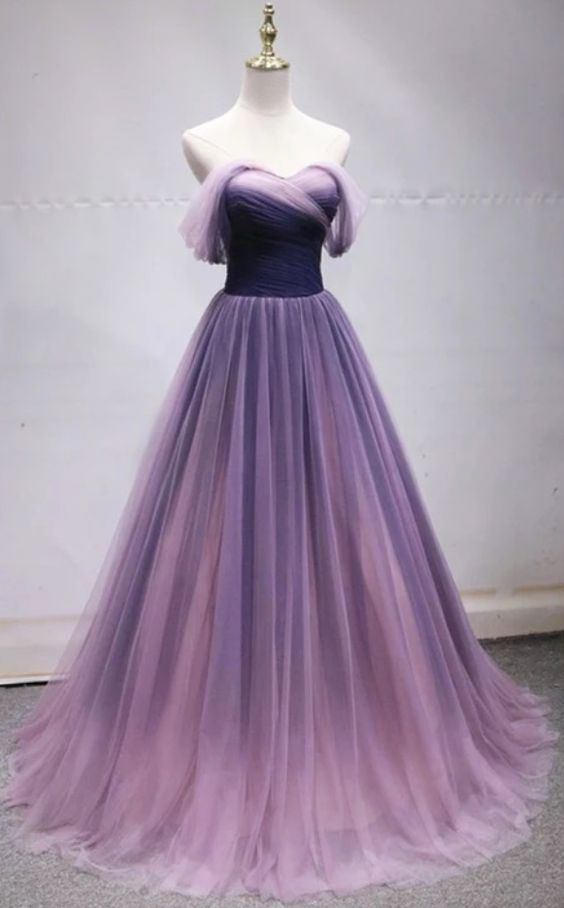 purple party dress off shoulder evening dress tulle long prom dress ball gown dress
