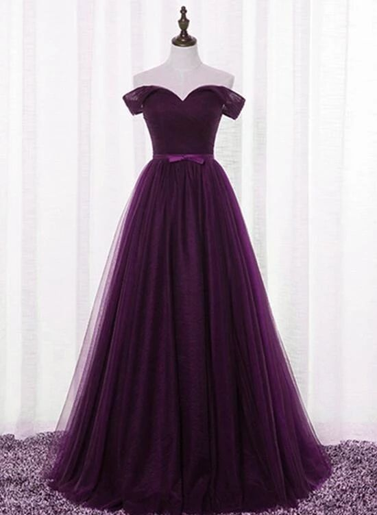 Dark Purple party dress off shoulder evening dress Floor Length prom dress tulle formal dress