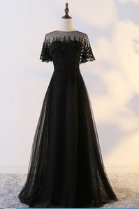 black party dress short sleeve evening dress lace applique prom dress tulle long formal dress round neck prom dress
