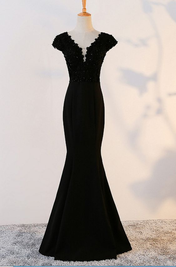 black party dress v neck evening dress cap sleeve prom dress lace mermaid formal dress