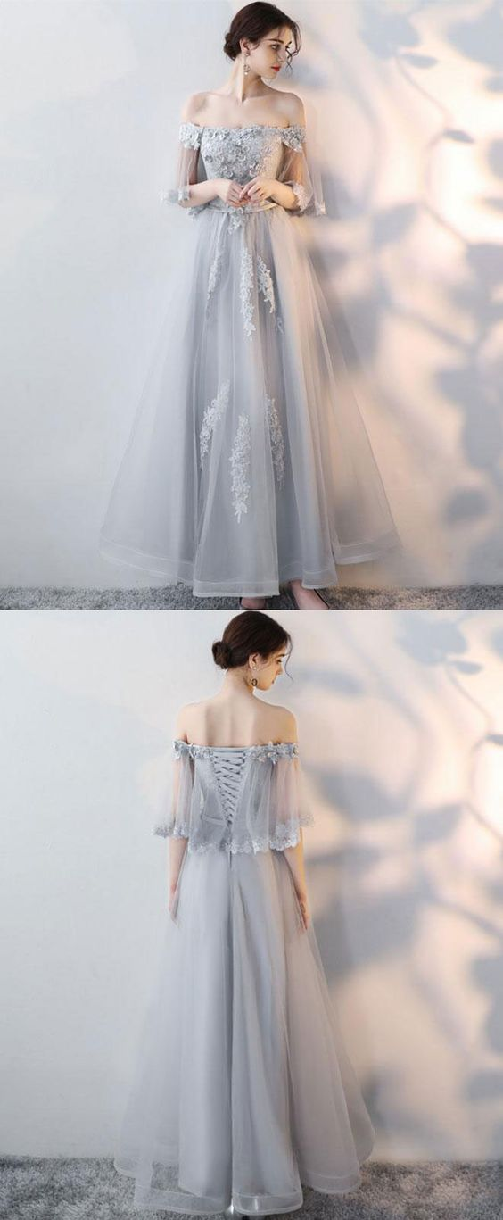Gray Tulle Lace Long Prom Dress, Lace Evening Dress,Custom Prom Dress