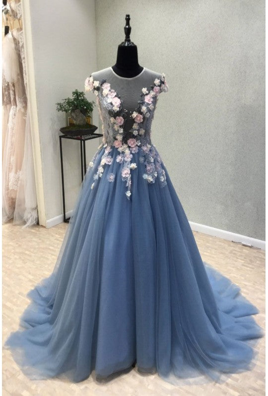 blue party dress round neck evening dress tulle applique long prom dress