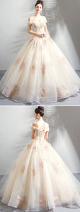 champagne party dress off shoulder evening dress tulle applique ball gown prom dress