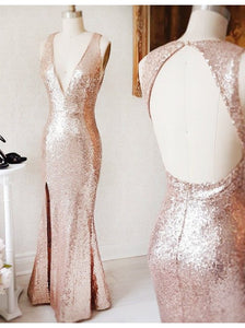 golden party dress v neck evening dress mermaid long prom dress high split formal dress