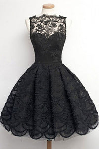Vintage, Homecoming/Prom Dress - Black Sheer Neck With Lace , Short Evening Gowns