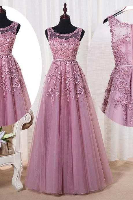 Scoop Sleeveless Party Dress, Lace Appliques Evening Dress, A-Line Dress ,Floor Length ,New Fashion