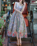 A-Line Short Homecoming Dress With Appliques,Floral Embroidered Organza Midi Dress
