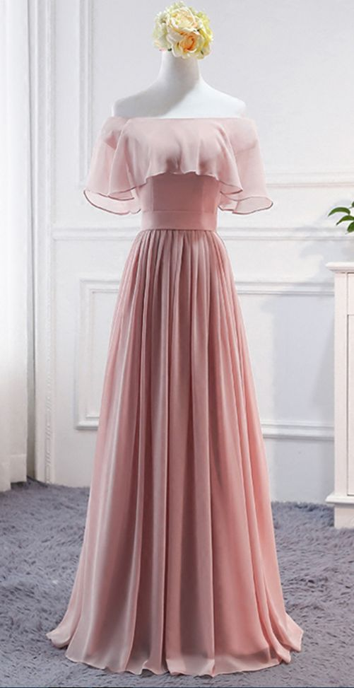 Pink, Long ,Chiffon, Wedding, Party Dresses, Cute ,Formal Dress, Chiffon, Long Gowns, Prom Dresses ,Evening Dresses