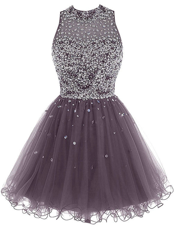 Short Tulle Beading Homecoming Dress,Pro..Short Tulle Beading Homecoming Dress,Prom Gown, Rhinestones Beaded Short Prom Dress, Gray Tulle Prom Dress