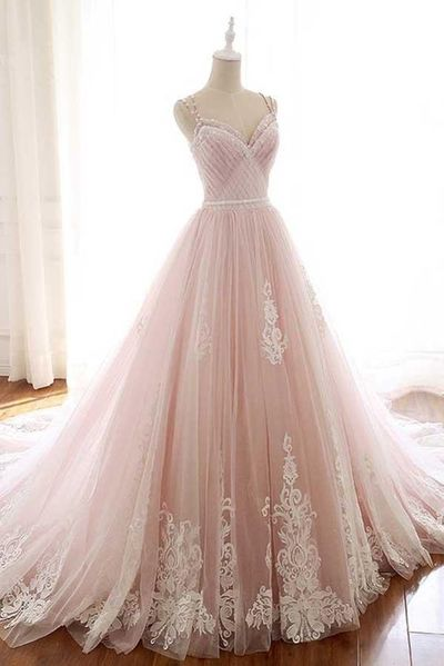 Pink evening dress Straps evening dress Tulle Prom Dress with Lace Appliques wedding dress, A Line Cheap Formal Dresses