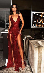 Red Sequin Party Dress,Spaghetti Strap Plunge V Neck Prom Dress, Backless Double Slit Evening Dress