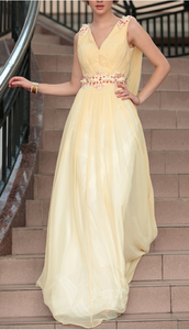 faint yellow party dress v neck evening dress tulle beading prom dress