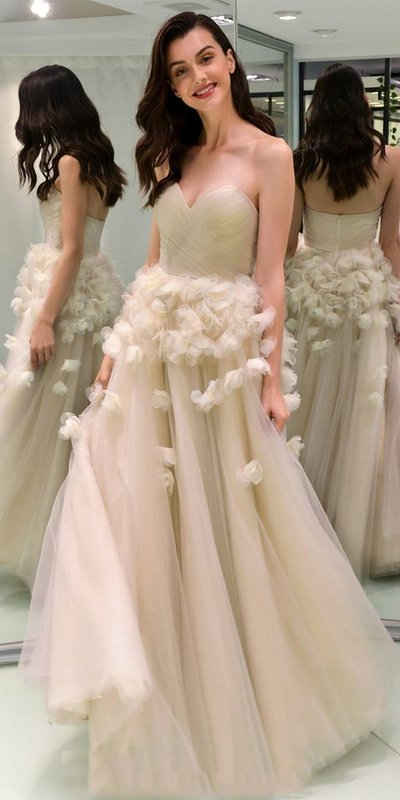 beige party dress strapless evening dress tulle applique long prom dress