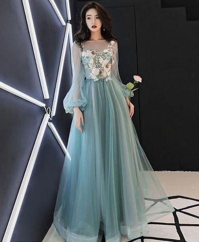 green party dress long sleeve evening dress tulle applique long prom dress