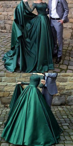 Modest dark green party dress, off the shoulder prom dresses ,prom dress with long sleeves, evening gowns with lace, a line party dresses with pleats