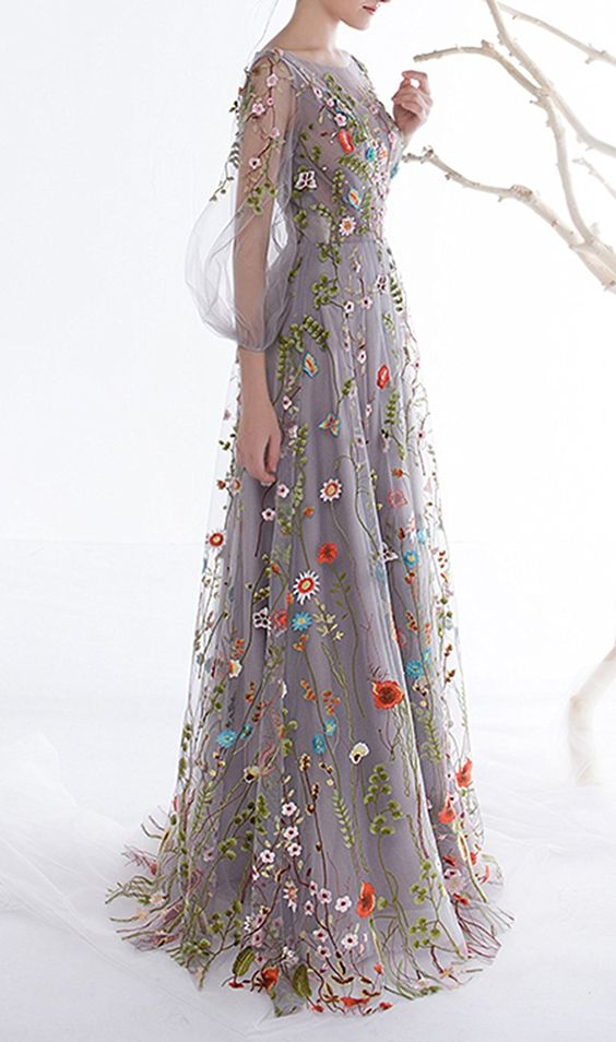 Women's Zipper Back Floral Embroidery ,Long Sleeves Evening Dresses,Custom Made,Floor Length