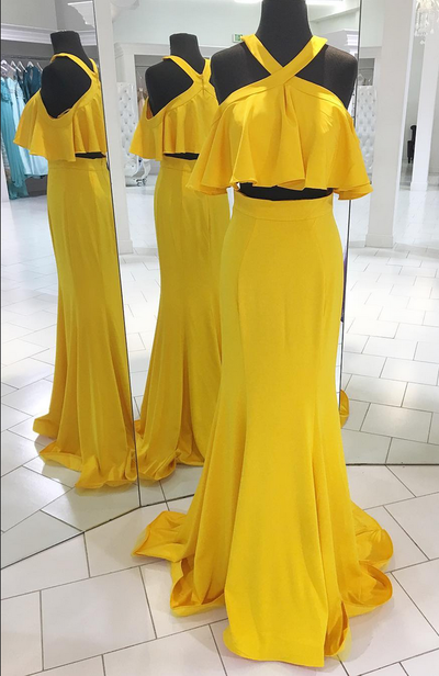 Two Piece Yellow Long Prom Dress with Ruffle,Prom Dresses,Evening Dress, Prom Gowns, Formal Women Dress