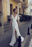 white party dress v-neck evening dress half sleeves prom Dresses lace formal dress