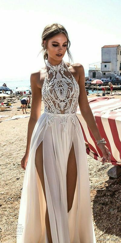 New halter white prom dress,high slit wedding dress,sexy evening dress with lace ,charming wedding dress