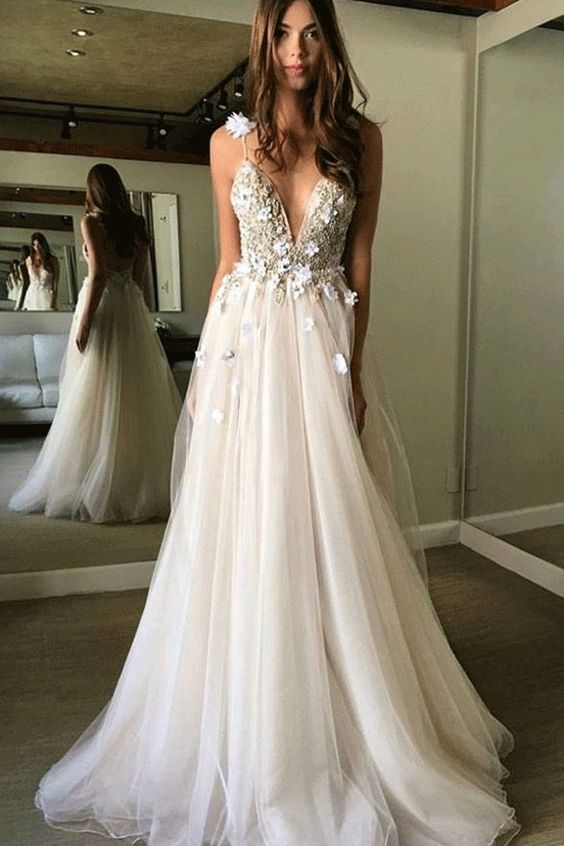 White Prom Dresses, Long Prom Dresses, Floral Open Back, Deep V-neck, Straps ,Tulle ,Appliques Prom Dress,, Floral Princess, Wedding Dress ,2018 new fashion ,Prom Dress