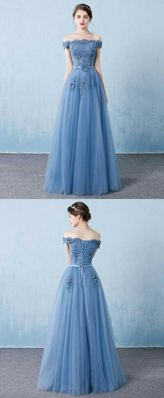 Long light blue prom dresses off shoulder prom dress Graduation gown