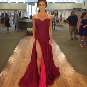 Off The Shoulder Straps Prom Dress With Slit,High Slit Red Evening Dress