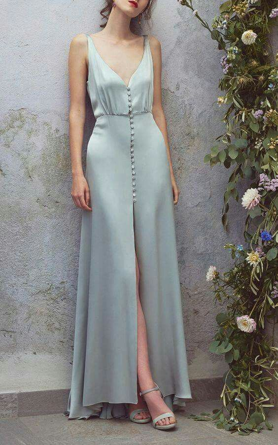 Light blue party dress ,satin, sleeveless prom dress,high slit,spaghetti straps,ball gowns sexy,long formal dress,, Party Dress/Homecoming Dress Short, Evening Gowns