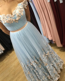 light blue tulle prom dresses lace embroidery v-neck off the shoulder evening gowns butterfly prom dress