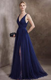 Generous A-Line V-Neck Navy Blue Tulle Long Prom/Evening Dress With Beading