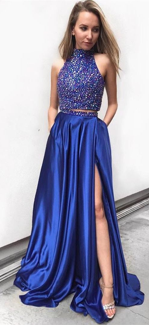 two piece halter navy blue prom dresses, two piece beaded long party dress for teens,leg split evening dress