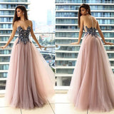 Strapless long prom dress,sexy evening dress with tulle