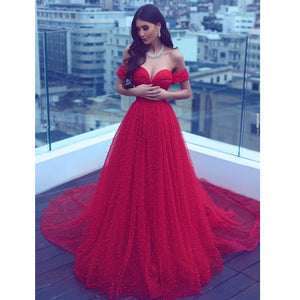Stunning Red Off Shoulder Tulle Beaded Evening Dress,Sweetheart Pearls A Line Prom Dress with Train