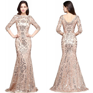 Gold Sequins Prom Evening Dress Formal Party Mermiad Gown Brideasmaid Dresses