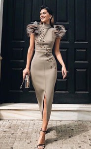 Slim lace embellished high-necked formal dress