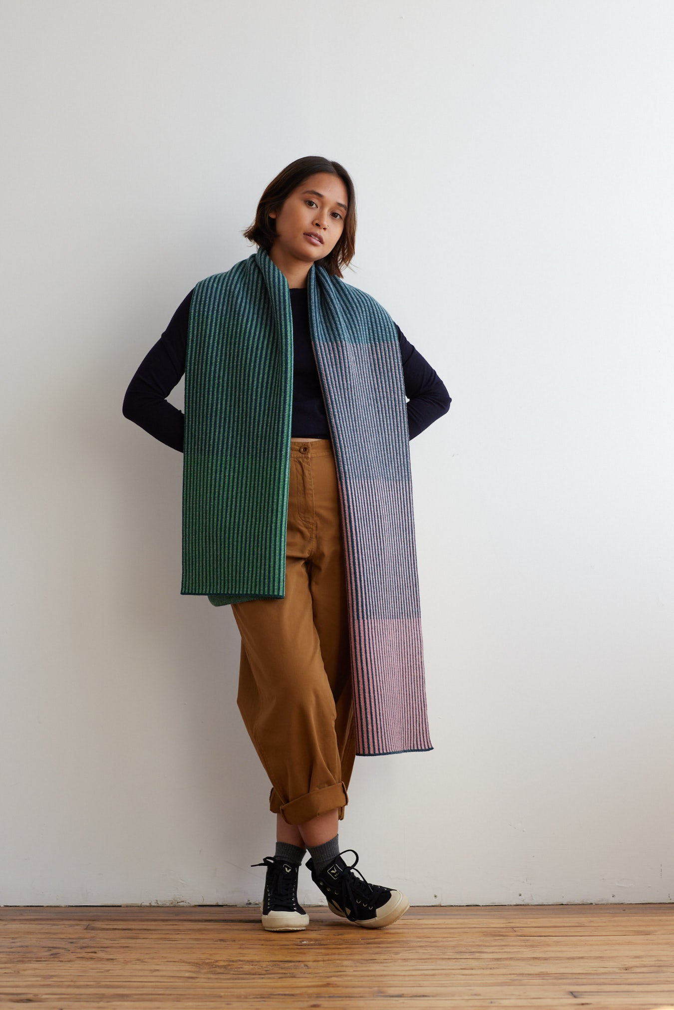 'St Ives' Scarf in Sea Pink and Oxide Green