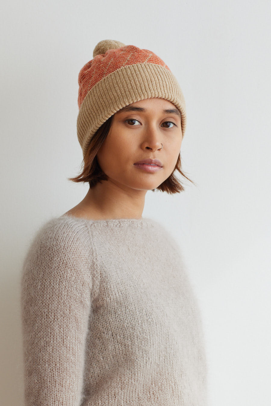 'Forest' Pom Hat in Sandstone and Rust