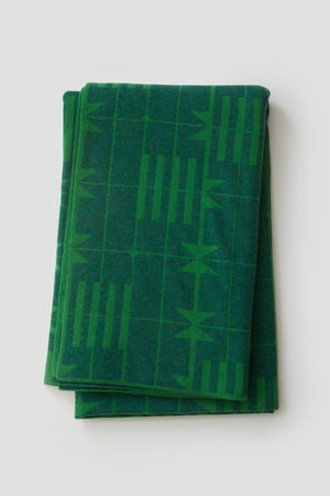 'Dovetail' Bedthrow in Ink and Oxide Green