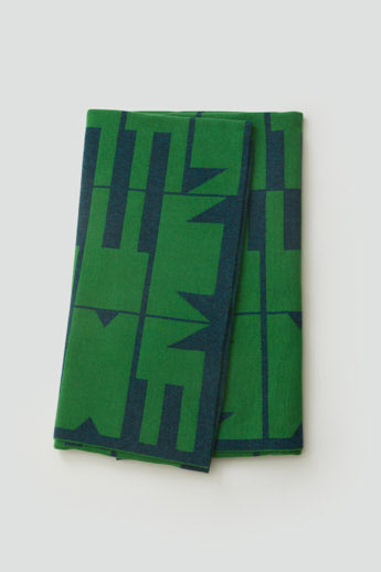 'Keel' Blanket in Ink and Oxide Green