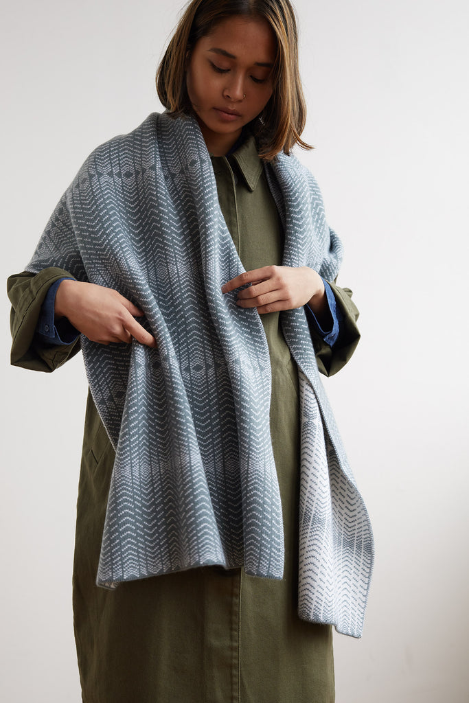"Shawl ""Brackish""<br/>North Sea + White"