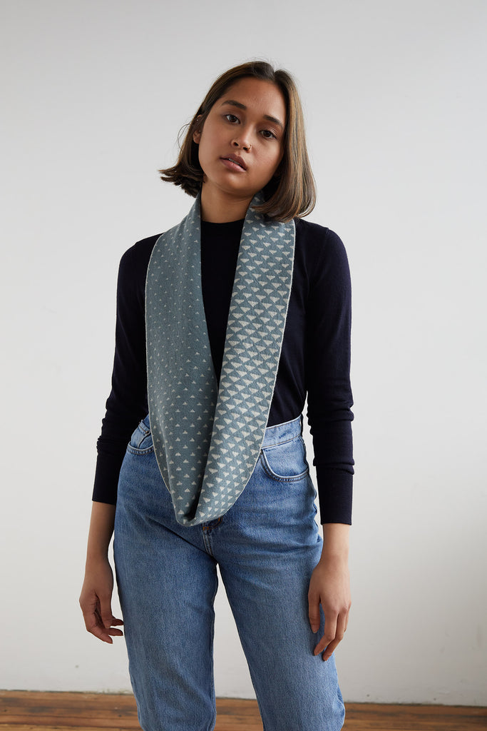 "Circle Scarf ""Sashiko""<br/>North Sea + Birch"