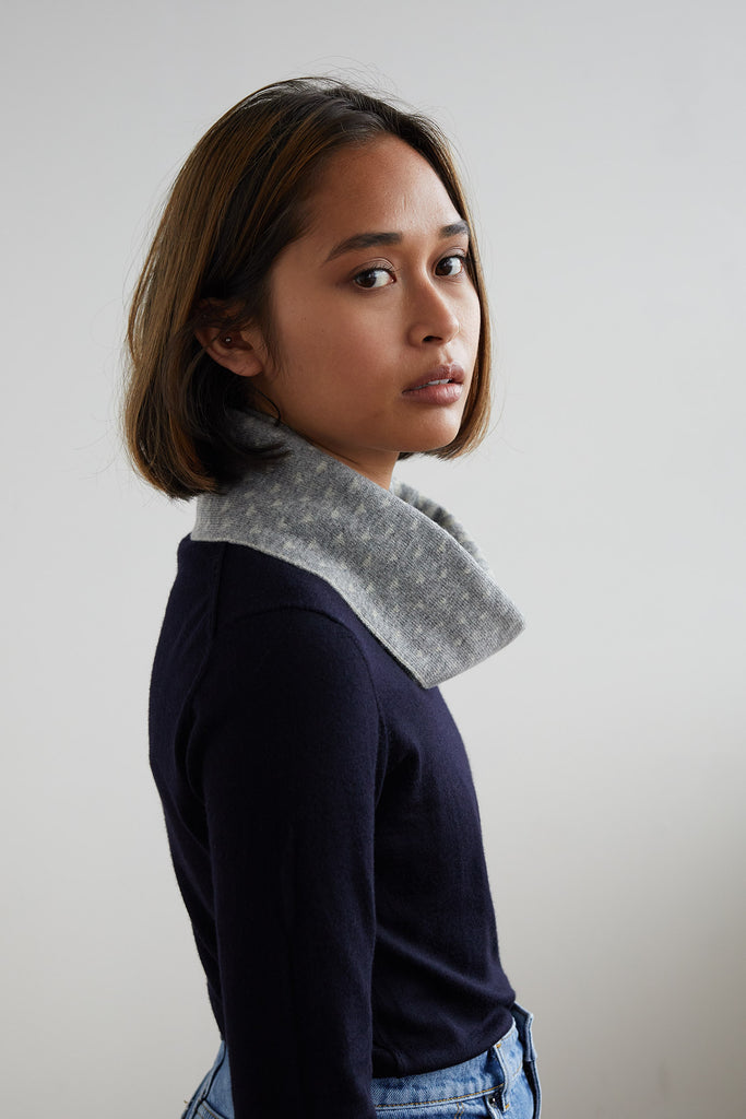 "Circle Scarf ""Sashiko""<br/>Seal Grey + Birch"