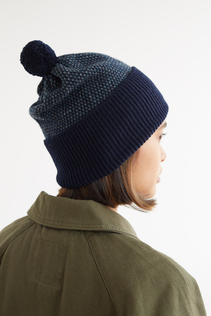 "Pom Hat ""Tivoli""<br/>Navy, Ink + Wolf Grey"