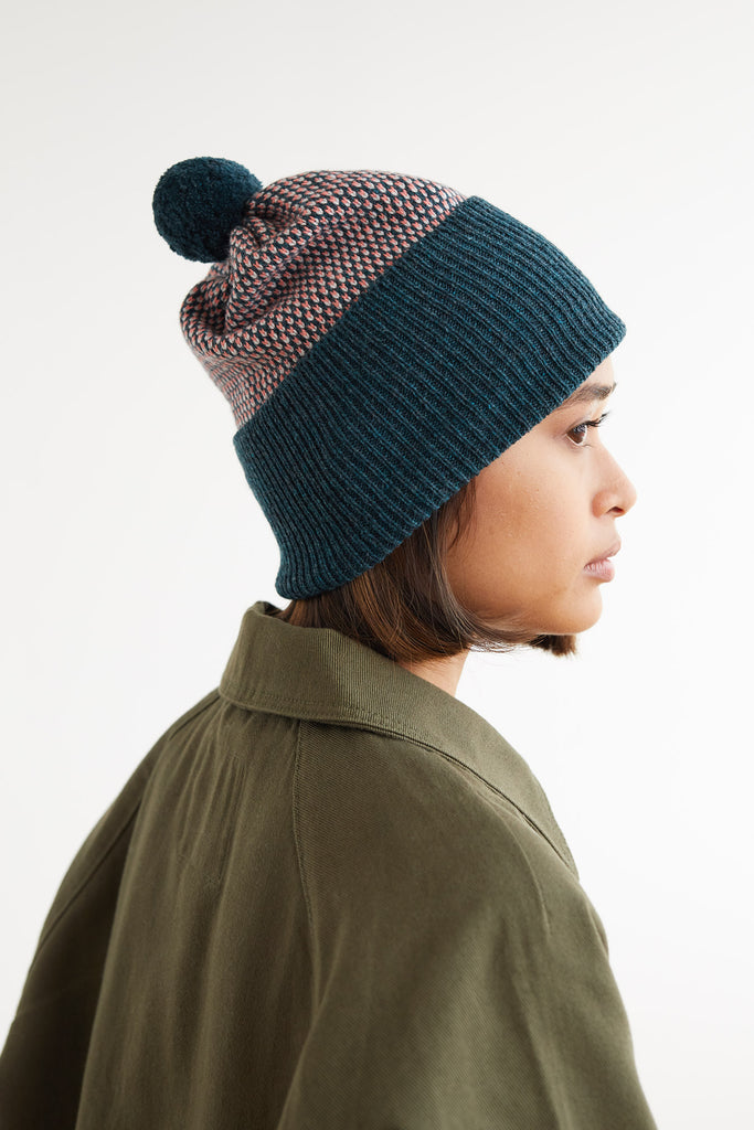 "Pom Hat ""Tivoli""<br/>Ink, Coral + Smoke"